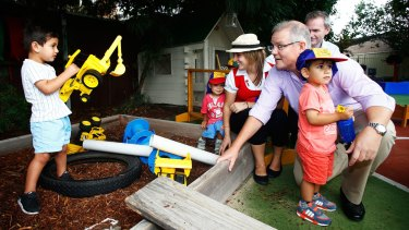 Minister for Social Services Scott Morrison at a childcare centre in Bexley North, Sydney.