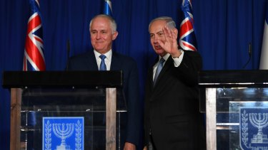 Prime Minister Malcolm Turnbull and Israeli Prime Minister Benjamin Netanyahu address the media in Jerusalem.