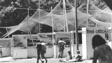 Frei Otto's pavilion at the Prater Exhibition, in Hyde Park, Sydney, in 1979.