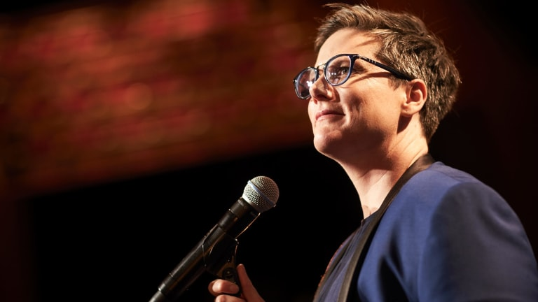 It's just Hannah Gadsby, a microphone and a glass of water in Nanette.