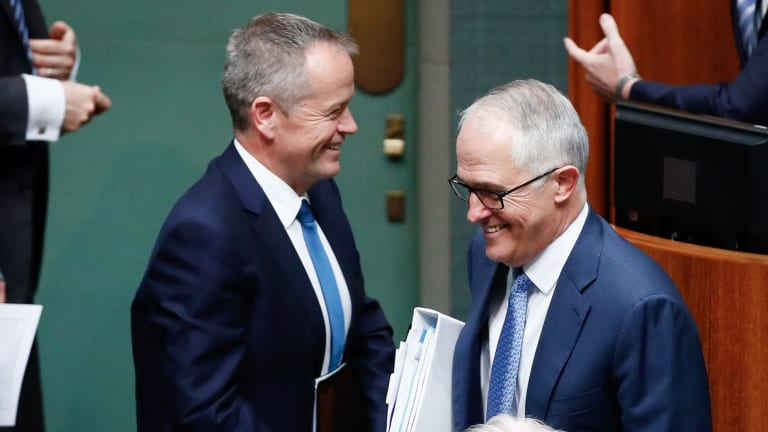 Opposition Leader Bill Shorten and Prime Minister Malcolm Turnbull cross paths in Parliament.