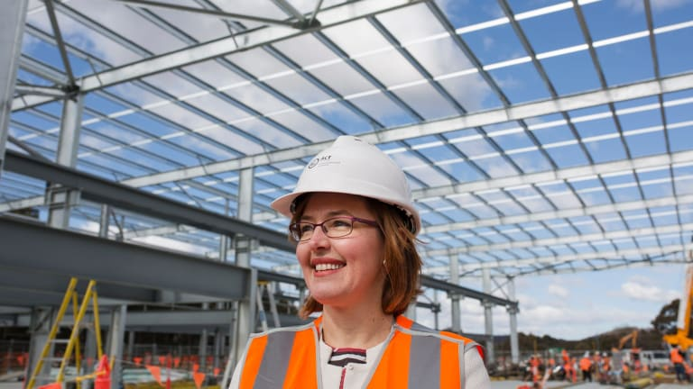ACT transport minister Meegan Fitzharris at the Maintenance Building at the light rail's Mitchell depot on Wednesday. Ms Fitzharris said light rail construction is progressing well.