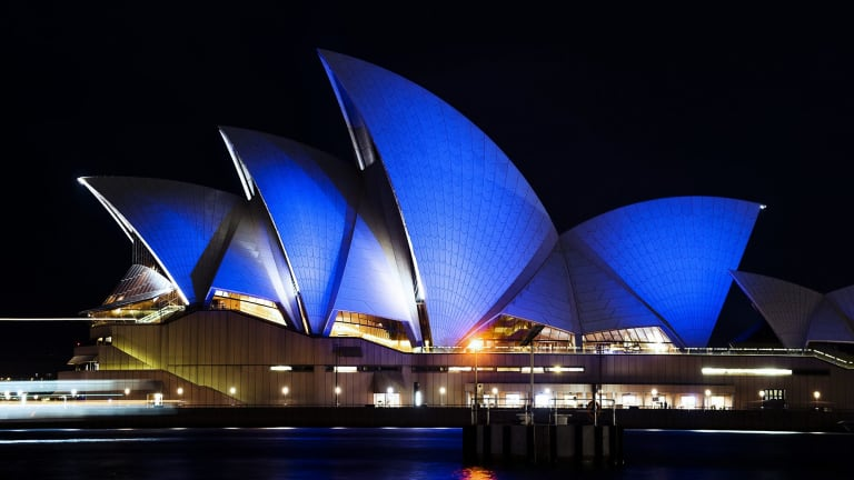 The Sydney Opera House is lit blue on April 2, 2015, the United Nations' World Autism Awareness Day.