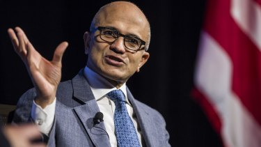 Microsoft's shares have doubled since  Satya Nadella was appointed in 2014.