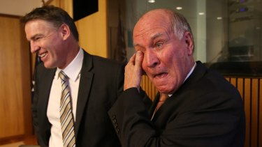 An emotional Tony Windsor and Rob Oakeshott announcing they will not recontest the next election in 2013.