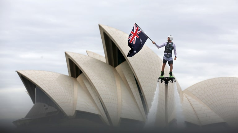 'Flyboarder' Ashton Beukers will be among the Australia Day activities on the harbour.
