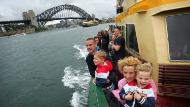 Boat tour: The Piper family, Dominic, Tania and sons Liam, 6, and Jude, 5, from Perth enjoy a Sydney Ferry ride.