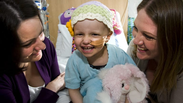 Annie McGuigan with Mum Lauren and aunty Lindsay Hayes in March last year.