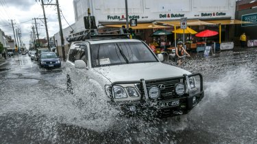 Flooding in Sydney Road, Brunswick.