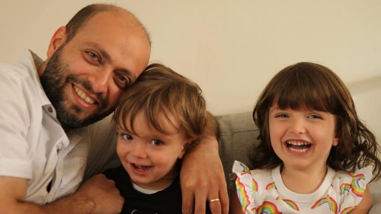 Netherlands-based Iranian filmmaker Arash Kamali Sarvestani with his two children.