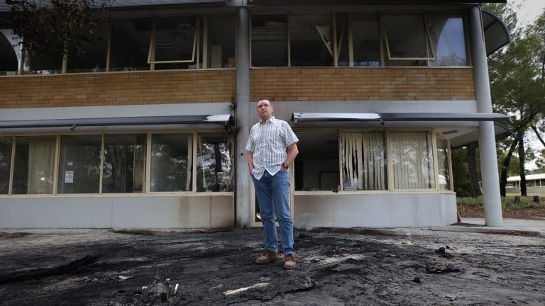 Australian Christian Lobby managing director Lyle Shelton outside the damaged headquarters in December.