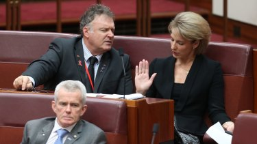One Nation senator Rod Culleton (left), pictured with government senator Michaelia Cash, voted for the lower 10.5 per cent tax rate, splitting with the rest of his party.