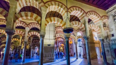 The interior of the Mosque-Cathedral of Cordoba.