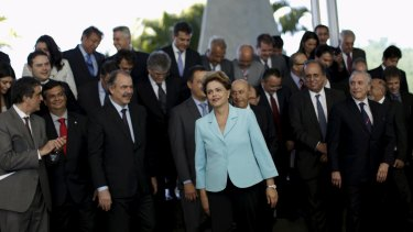Brazil's President Dilma Rousseff (centre) attends a meeting with state governors at Alvorada Palace in Brasilia last week.
