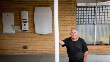 Changing times: not far from Hazelwood, Morwell resident Robert Freeman has installed a battery pack linked to rooftop solar panels.