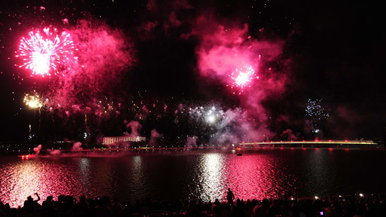 The Australia Day fireworks on the shores of Lake Burley Griffin.