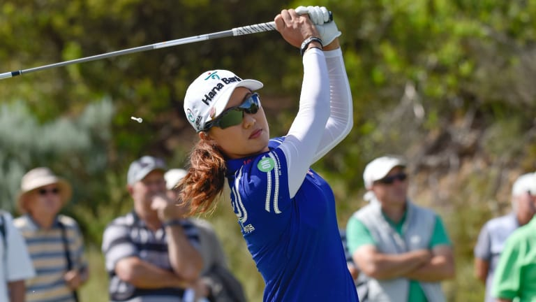 Australian No.1 Minjee Lee has claimed a comfortable lead midway through Day 2 of the Oates Vic Open finishing nine-under-par.