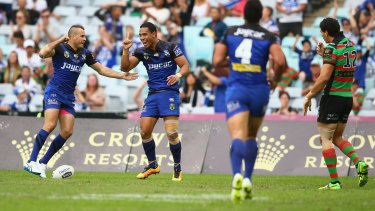Devoted: Will Hopoate celebrates scoring a try during the round four NRL match between the South Sydney Rabbitohs and the Canterbury Bulldogs at ANZ Stadium on Good Friday.