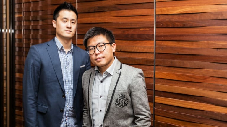 Airtasker co-founders Jonathan Lui (l) and Tim Fung