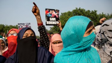 Indian Muslims protest against the persecution of Rohingya Muslims, in New Delhi, India, on Wednesday.
