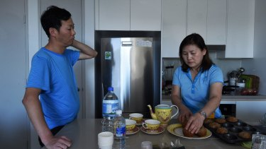 Myung Jin Juong and wife In-Young Joyce at their home in Epping.