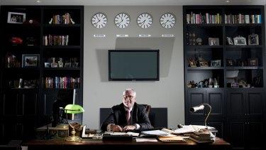 Big business: Andrew McManus in his office.