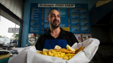 Kensington Fish Shop manager Zak Elkouri with a favourite fry-up.