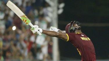 Last over hero Carlos Brathwaite celebrates hitting the winning runs.