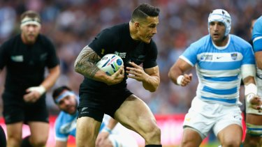 All-round talent: Dual international Sonny Bill Williams on the run for the All Blacks against Argentina.