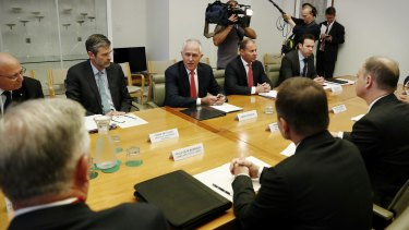 Prime Minister Malcolm Turnbull and Minister for Environment and Energy Josh Frydenberg meet representatives of the gas industry in March.