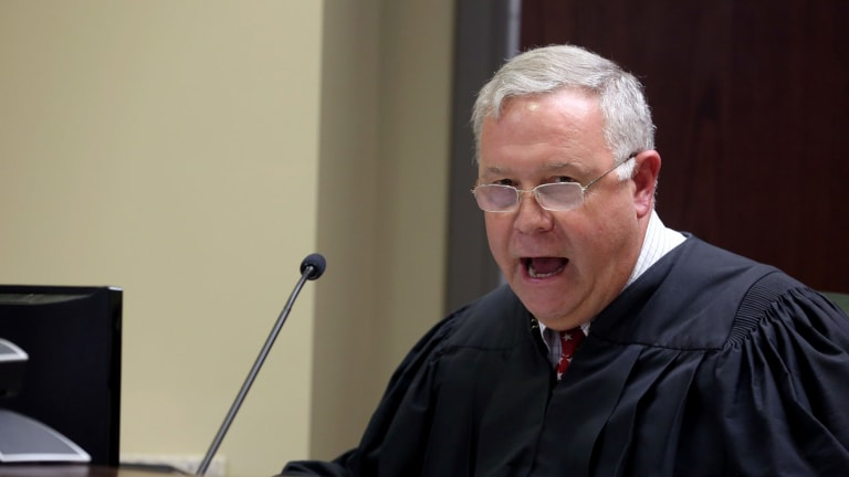 Judge James Gosnell speaks during a bond hearing for Dylann Storm Roof at a court in North Charleston.