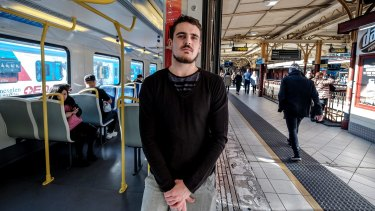 Jesse Heazlewood, 22, who travels on the Pakenham line to work on the weekend, says he wakes up an hour earlier than he used to to make sure he gets into the city on time.