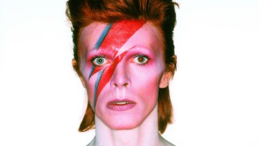 David Bowie in his album cover shoot for Aladdin Sane, 1973.