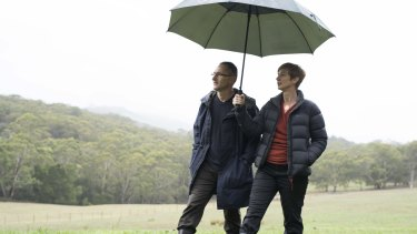 Richard Di Natale and his wife, Lucy Quarterman, on their farm.