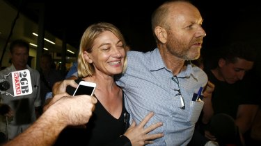60 Minutes presenter Tara Brown and former producer Stephen Rice on their return to Sydney after being released from a Lebanon jail.