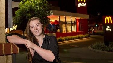 Brigid Forrester, 19, worked at McDonald's until last November.