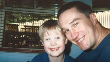 A young Josh Schache with his father, Laurence