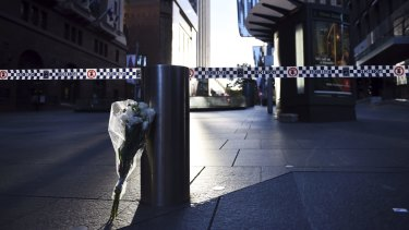 A floral tribute at Martin Place.