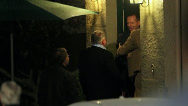 Tony Abbott greeted former schoolmates from Riverview Old Ignatians for their 40th anniversary celebrations at Kirribilli House on Friday night.