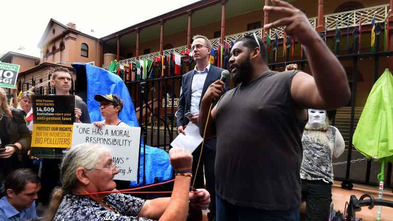 Bogaine Spearim  addresses protesters in Macquarie Street.
