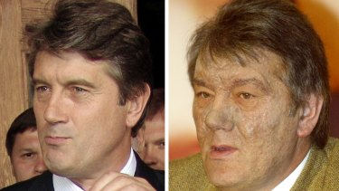 Viktor Yushchenko before and after his mysterious illness.