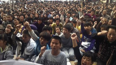 Wukan villagers protesting in 2011.