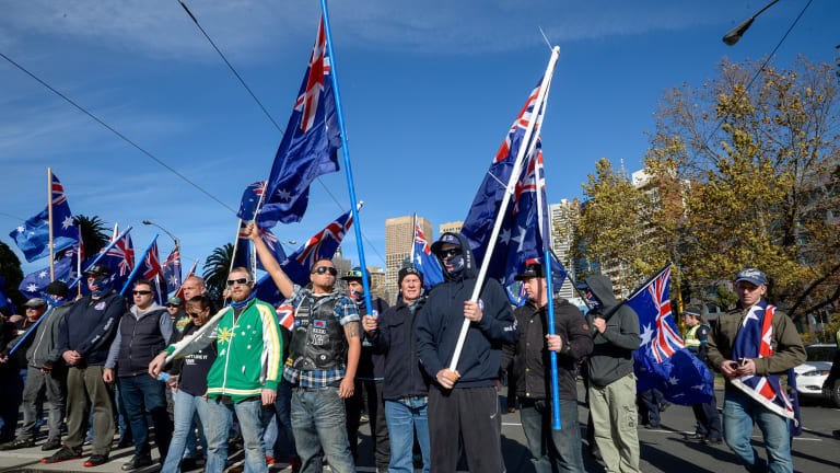 The True Blue Crew holds a rally at Fitzroy Gardens in June 2016.