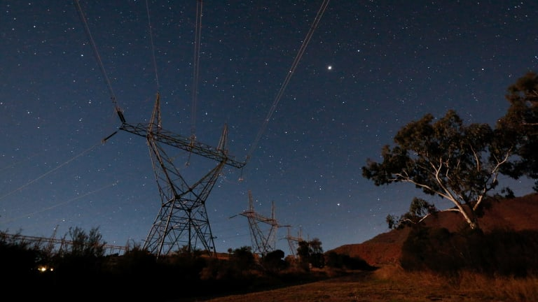 Transmission towers near the Snowy Hydro Tumut 3 power station in Talbingo under the stars.