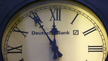 Time's up: The clock on a German branch of Deutsche Bank.