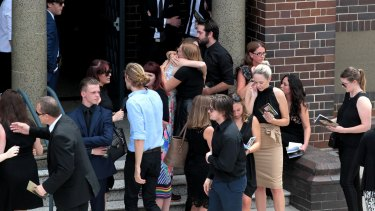 Family and friends arrive at Jessica Falkholt's funeral.