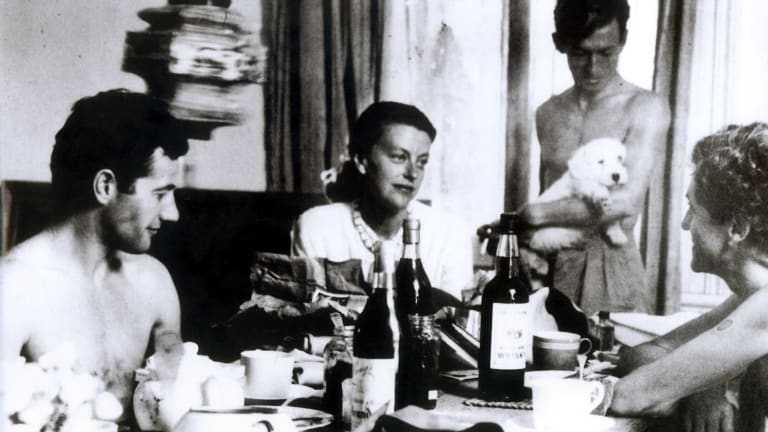 Christmas at Heide, Templestowe, Melbourne, in 1946. From left: Sidney Nolan, Sunday Reed, John Sinclair and John Reed.