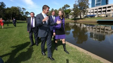 NSW Premier Mike Baird and MAAS director Dolla Merrillees opposite the proposed new site of the Powerhouse Museum in Parramatta.