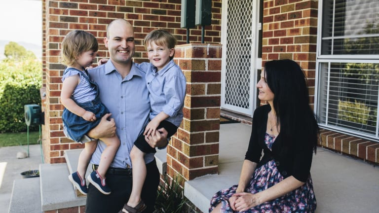 Independent candidate for Tuggeranong Joel McKay at home with his family, Trudie Hargrave, Logan, 4, and Shara, 2.