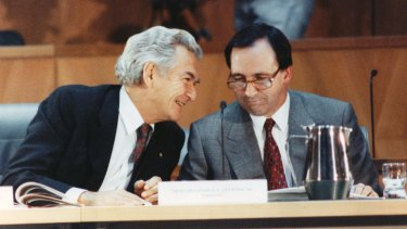 Prime minister Bob Hawke and treasurer Paul Keating in 1990 when a recession struck.